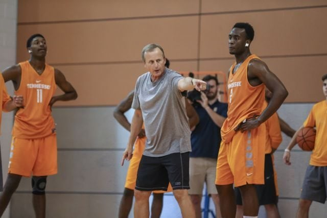 KNOXVILLE,TN - AUGUST 31, 2015 - Tennessee Volunteers Head Coach Rick Barnes and Forward Ray Kasongo #2 of the Tennessee Volunteers during practice at Pratt Pavilion in Knoxville, TN. Photo By Craig Bisacre/Tennessee Athletics