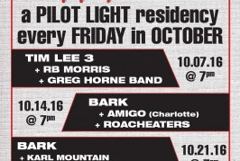 Tim Lee 3/Bark Plan Friday Rock n' Roll Happy Hour Series for October at the Pilot Light