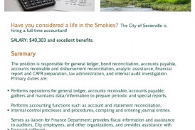 City of Sevierville now Hiring Full-time Accounting Position