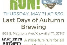 Keep Knoxville Beautiful to Host Trash Run from Last Days of Autumn Brewing