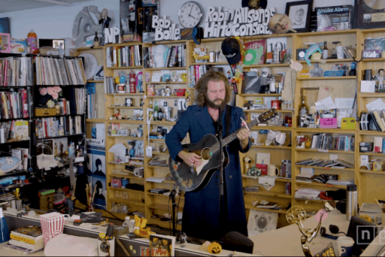 Jim James (Yimothy Yames) plays NPR's Tiny Desk and drops new song feat. Angel Olsen
